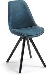 Eetkamerstoel Lars - Blauw stof - Zwart beukenhout - La Forma